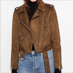 Zara brown suede motor jacket
